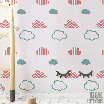 Nursery Wall Decorating STENCIL Raindrops Rain Pattern Home Decor Craft Painting