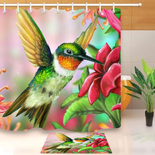 Hummingbird Fabric Shower Curtain Set 180CM Liner Curtains Bathroom Accessories
