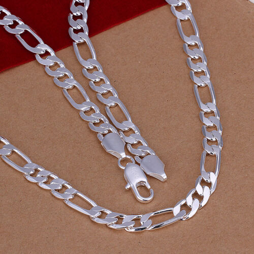 N018 Wholesale 925 Silver Flat 3-1 Cool Hommes Chaîne Collier 8 mm 20 in environ 50.80 cm
