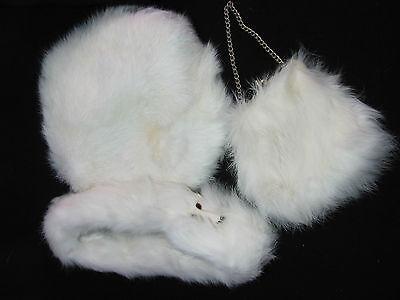 Vintage Child's White Rabbit Fur Tam Style Hat Collar & Matching Purse 3 Pc. Set