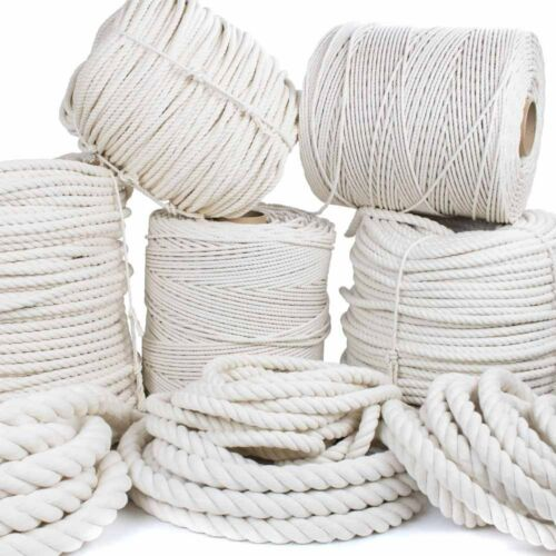 """7//32/"""" 3//16/"""" GOLBERG Twisted 100/% Natural Cotton Rope 5//32/"""" 3//8/"""", 1//4/"""" 5//16/"""""""