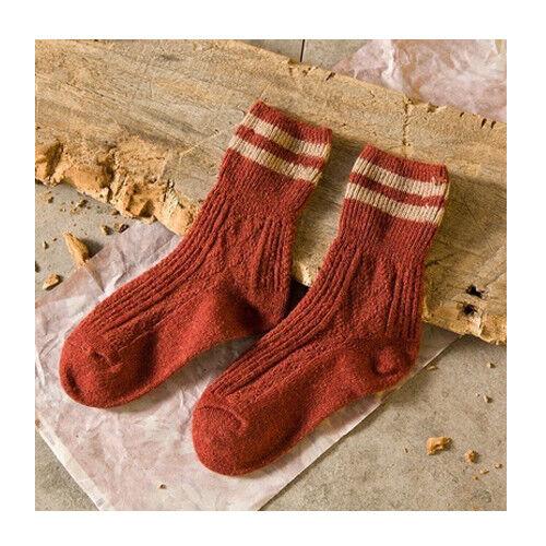 Womens Cashmere Wool Thick Warm Socks Winter Fashion Striped Design Lot