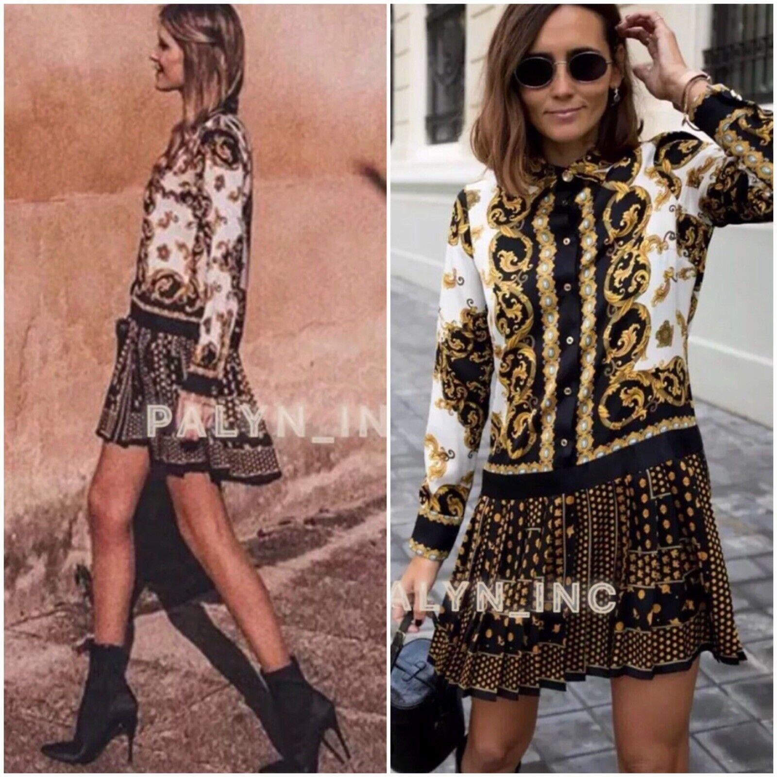 Nwt Zara Aw18 Damen Hemdskragen Bedruckt Kleid mit Faltenrock_XS-L