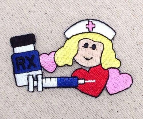 Nurse Needle//Hearts//Pill Bottle//Nursing Iron on Applique//Embroidered Patch