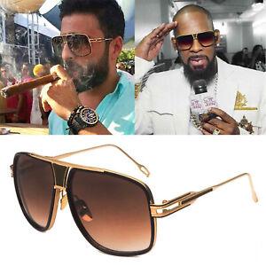 Designer-Oversized-Square-Aviator-Sunglasses-Metal-Bar-Retro-Frame-Men-Fashion