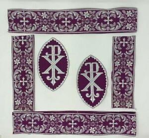 Plata-Cojos-Purpura-Vestment-A-amp-o-Px-Cruz-Emblems-Banda-6-PC-Lote-de-Paquete
