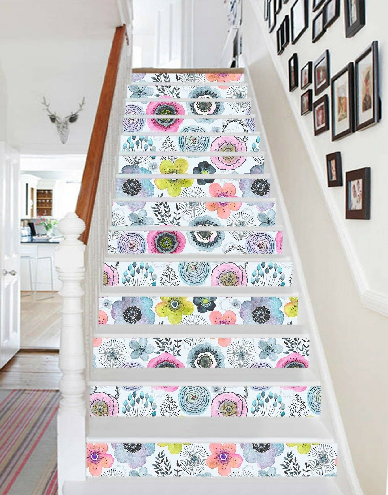 3D colord Petals Stair Risers Decoration Photo Mural Vinyl Decal Wallpaper UK