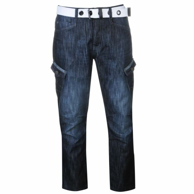 Airwalk Mens Belted Cargo Jeans Straight Fit Belt 6 Pockets Denim Trousers Pants
