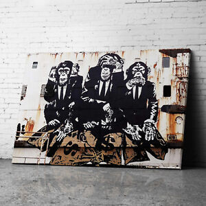 3 Wise Monkeys Banksy Canvas Wall Art Prints Framed Large Graffiti Pictures