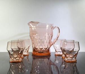 Vintage-Rare-Anchor-Hocking-Pink-Georgian-48-oz-Pitcher-4-8-oz-Glasses