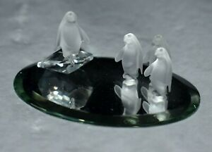 Vintage Swarovski Crystal PENQUIN FAMILY - FROSTED - On an Oval Mirror - CFL TAG