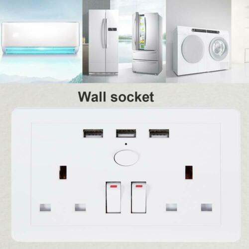 Double Wall UK Plug Socket 2Gang 13A 3USB Charger Port Outlet Plate CW UK