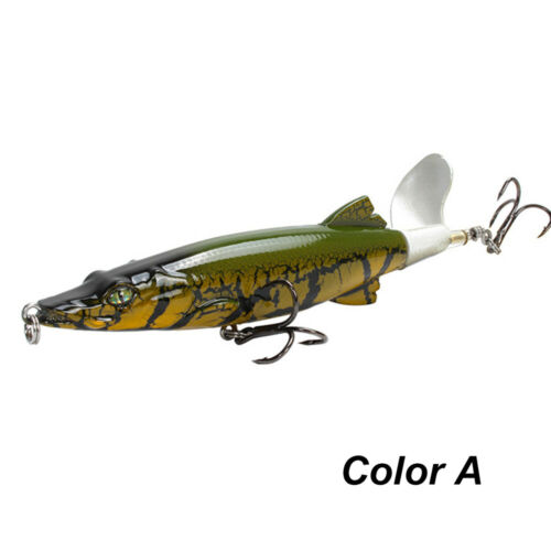 Details about  /16g 130mm Bass Rotating Tail Topwater VMC Hooks Plopper Fish Bait Fishing Lure