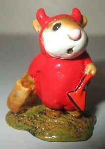 Wee-Forest-Folk-Little-Devil-Halloween-Costume-Mouse-Figurine-Orange-Red-M-61