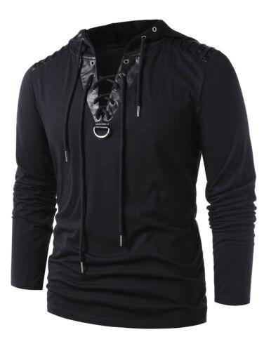 New Men/'S Lace Up Hooded Hoodie Slim Fit Fashion Sweatshirt Sweater Outwear Top