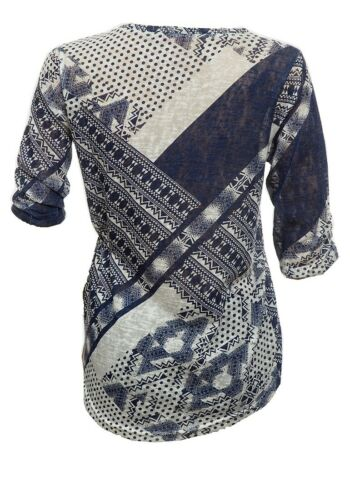 Ladies Quoz Blouse Blue Grey Abstract Print Rushed Quarter Sleeve Casual Top8-14