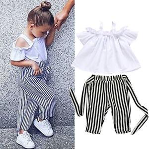 5f4cecbb83a88 UK Toddler Kids Baby Girls Clothes Tops T-Shirt Stripe Pants Summer ...
