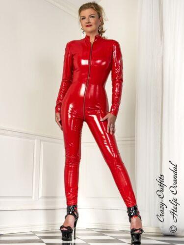 FET overall rojo ciñe vinilo tamaño brillante 32-58 XS