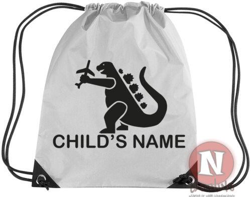 Personalised dinosaur sports kit bag add child/'s name Drawstring PE school