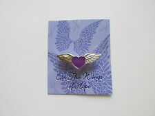 24 PURPLE RIBBON ANGEL WING PINS on CARDS Domestic Violence Alzheimers FREE S/H