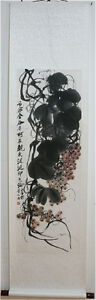 Excellent-Chinese-Scroll-Painting-034-Grape-034-By-Qi-baishi-C