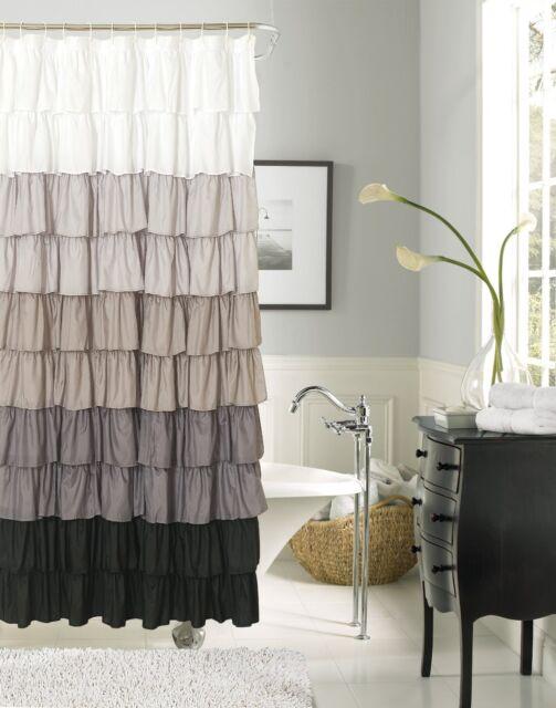 Dainty Home Flamenco Ruffled Shower Curtain, 72 by 72-Inch, Black/White, New