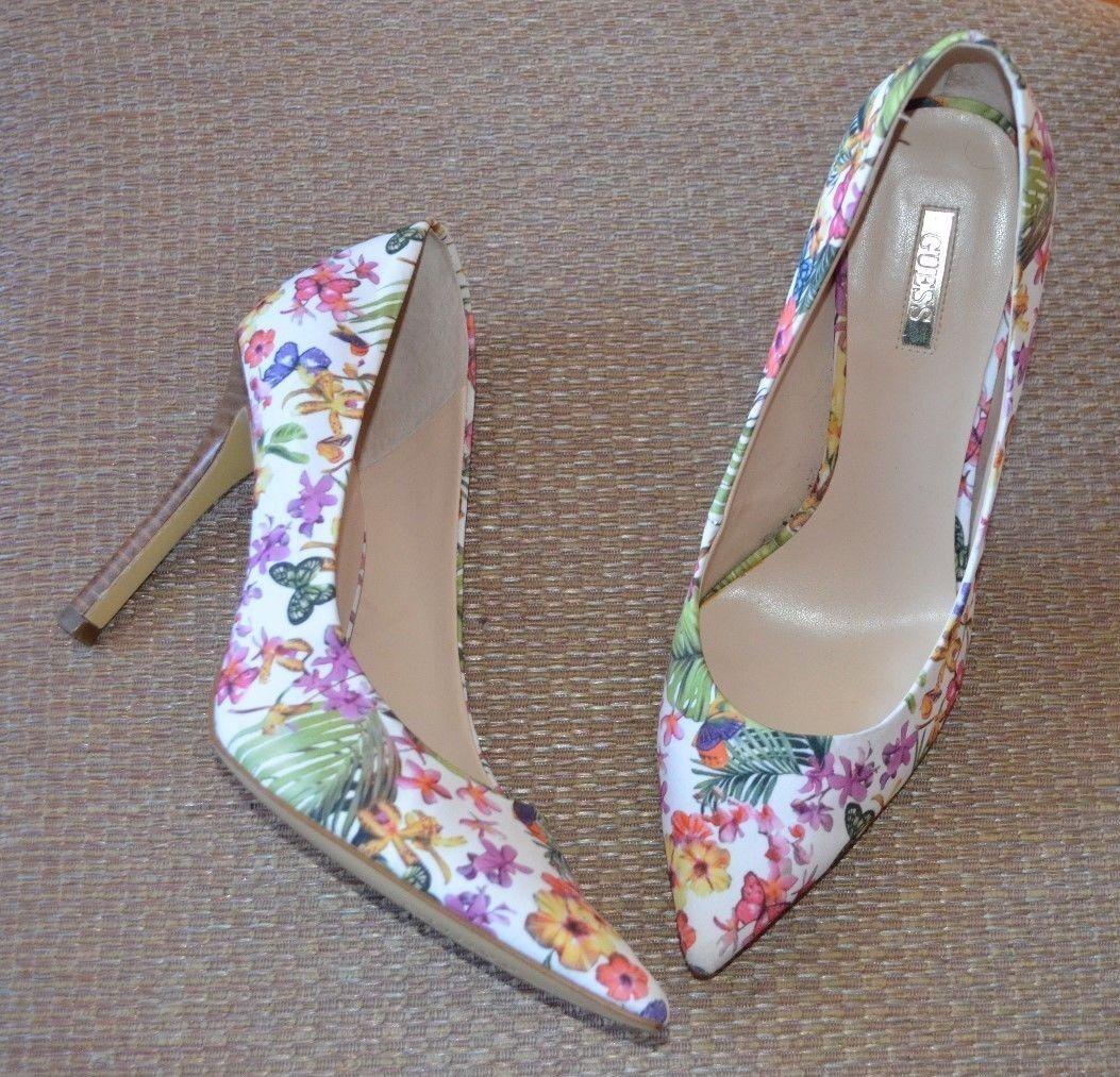 GUESS Escarpins Talons Chaussures Floral Multi-Couleur tissu Sz 9 m Bout Pointu Slim Talon