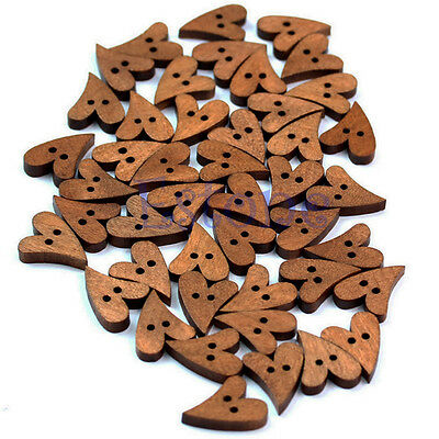 100pcs New Brown Lovely Wood Wooden Sewing Heart Shape Button Craft Scrapbooking