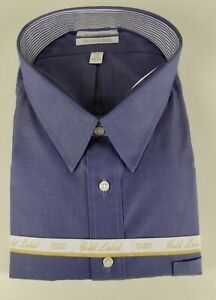 7ec1f96cac1 Details about Roundtree & Yorke Gold Label Non Iron EZ Wash Blue Pinpoint  Dress Shirt NWT $75