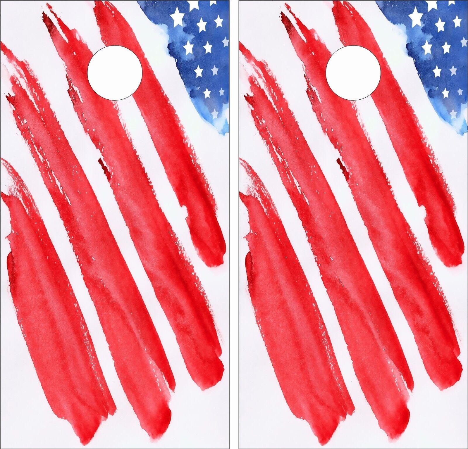American Flag Paint .Cornhole Board Game Decal Wraps USA High Quality Image bag
