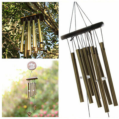 New Amazing Antique Bronze 8 Tubes Wood Church Bells Wind Chimes Yard Decor