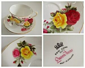 Queen Anne # 8519 Floral ROSE  England Fine Bone China Tea Cup And Saucer