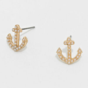 Anchor-Earrings-Pave-Tiny-Studs-WHITE-Pearl-Nautical-5-034-GOLD-Beach-Jewelry