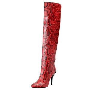 Dettagli su Versace Donna Rosso Pitone Cuoio pelle Stivali Tacco Alto Scarpe Misura 6 9