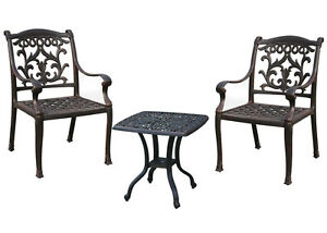 3 piece patio bistro set outdoor Elisabeth end table 2 dining chairs cushions