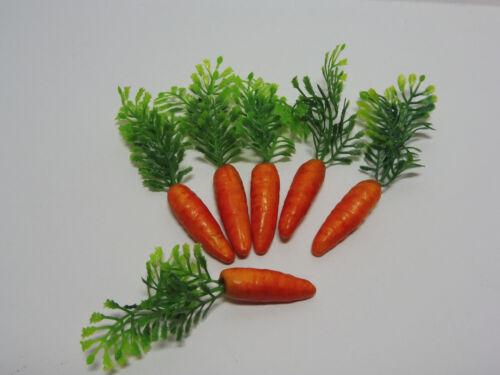 6 Deko Karotten Möhren Ostern 4cm Hasen Gemüse Karotte mit Grün Kunststoff