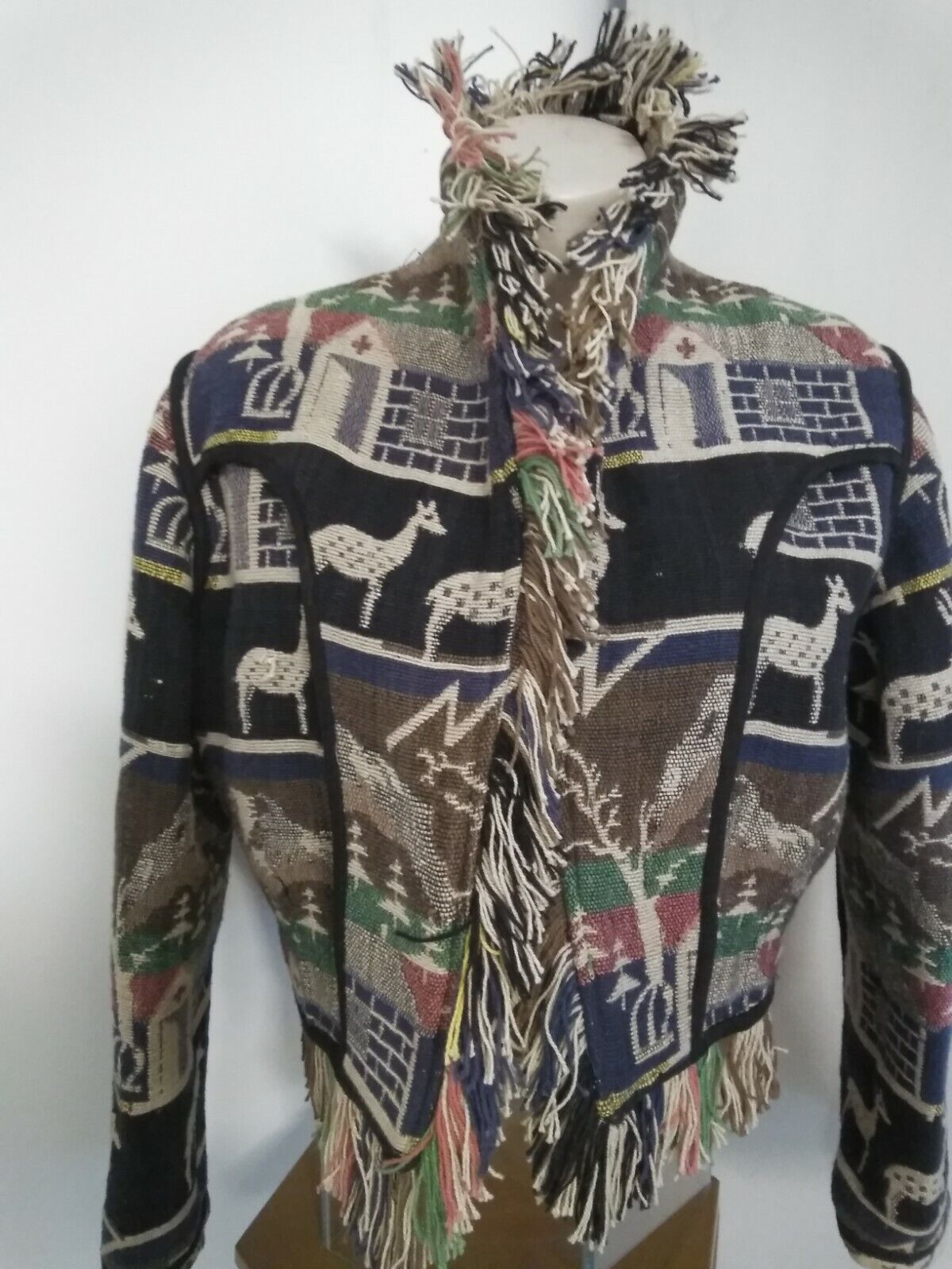 Boho Cowgirl Fringed Cropped Jacket with deer