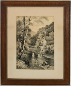 F-Carless-Early-20th-Century-Watercolour-Driving-Cattle-over-the-River