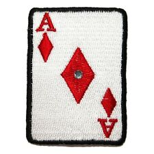 ID 0078B Ace of Diamonds Playing Card Patch Poker Embroidered Iron On Applique
