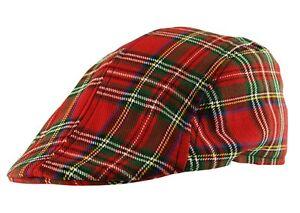 Mens Flat Cap Scottish Tartan Hat Bakerboy Cabbie Newsboy Country Gatsby Hat