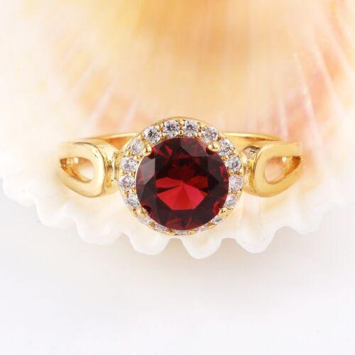 SUPERBE mariée Ovale Rouge Grenat Gemme Gold Eternity Anneaux Mariage Bijoux 7-10
