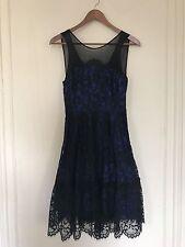 Moulinette Soeurs Anthropologie Royal Blue And Black Lace Dress Size 0