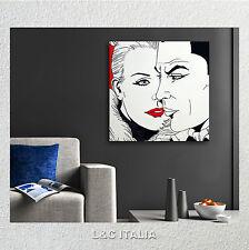 Diabolik Eva Kant 2 - QUADRO 50x50 INTELAIATO QUADRI STAMPA TELA FUMETTO ARREDO