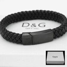 """DG Men's Stainless Steel,Black Braided Leather*Magnetic 8.5"""" Bracelet*Unisex.BOX"""