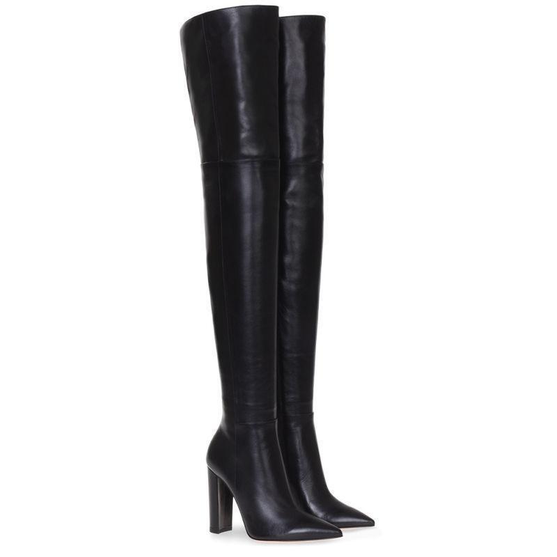 Zapatos De Cuero señoras sobre la rodilla botas botas botas de combate de alto del muslo Bloque Tacones Altos Cremallera Lateral  Ahorre hasta un 70% de descuento.