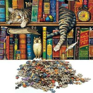 Puzzle 1000 Pieces Jigsaw Puzzles For Adult Cat on Bookshelf Toy Q4H8