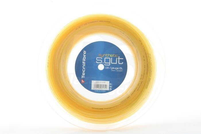 Tecniffibe Tennis String Synthetic Gut 1.35mm 15L - 200m Rulle guld - Free UK P&P