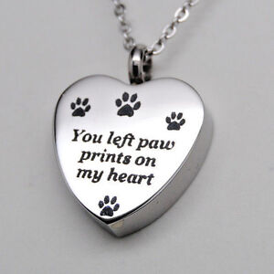 You left paw prints on my heart paw urn necklace cremation jewelry image is loading you left paw prints on my heart paw aloadofball Images