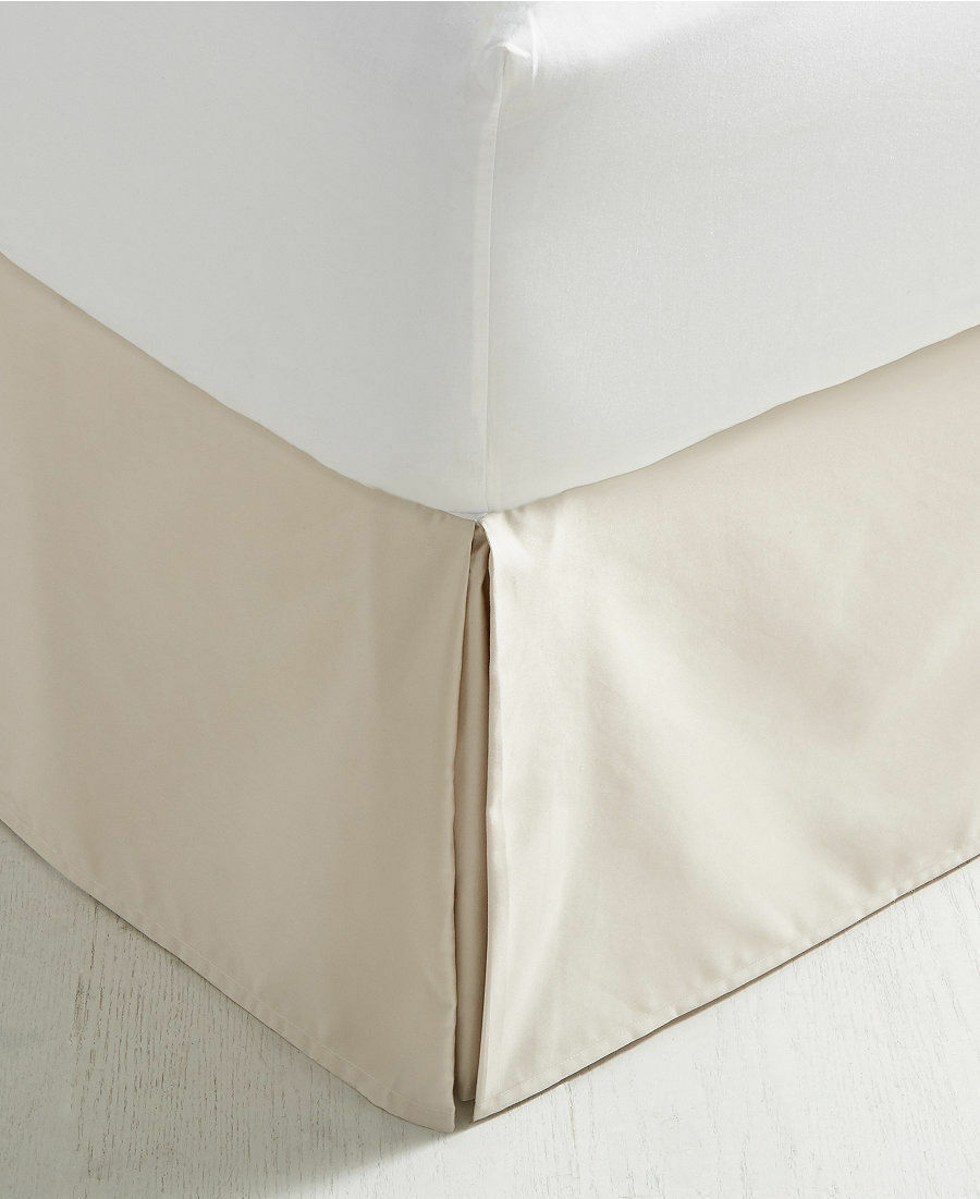 CHARTER CLUB DAMASK  BEDSKIRT TAILORED SOLID PARCHMENT BEIGE QUEEN