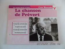 CARTE FICHE PLAISIR DE CHANTER CORA VAUCAIRE LA CHANSON DE PREVERT